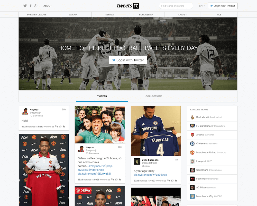 TweetsFC - The best way to follow football players on Twitter